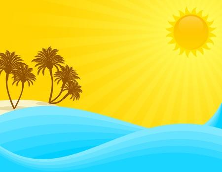 Summer seascape on a sunny day. Vector