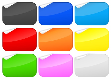 Peeled rounded rectangles stickers collection. Vector