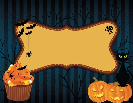 Spooky halloween background with banner.  Vector
