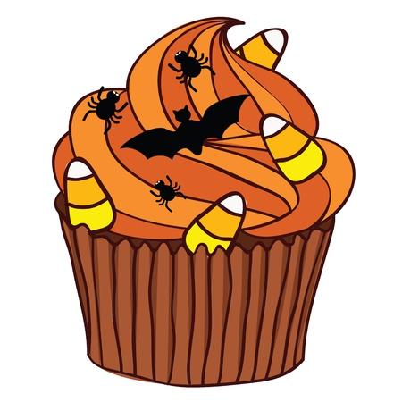 Halloween Spooky Cupcake with orange icing.  Vector