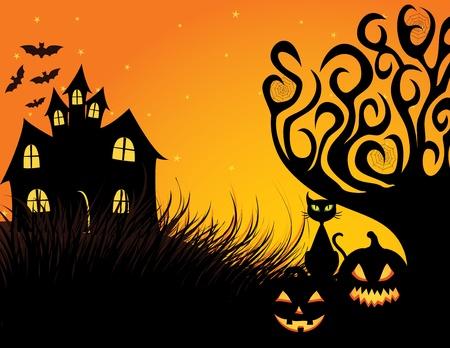 horror castle: Halloween dark scene with black cat.