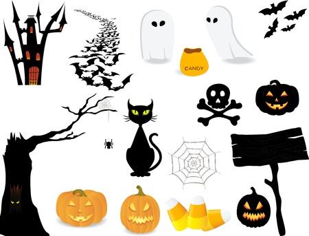 casita de dulces: Halloween conjunto de iconos para hacer su propio diseño.