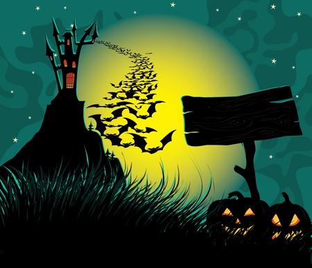 horror castle: Panorama oscuro de Halloween con espeluznante castillo.