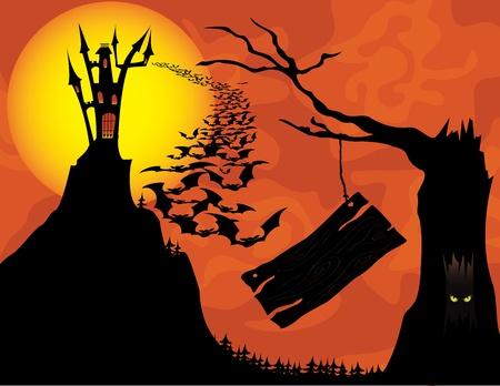 haloween: Fondo de haloween Spooky con colgar la bandera. Vectores