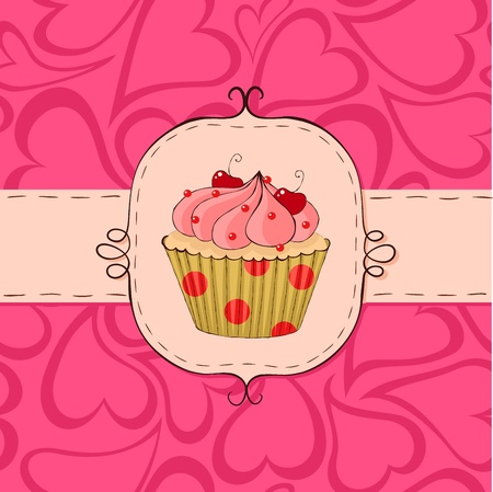 Pink card with cupcake. Seamless hearts pattern in the background.