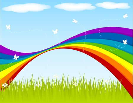 Spring backgraound with rainbow and butterflies. Vector