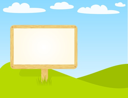 Blank wooden billboard to put your message. Stock Vector - 10727743