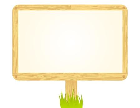 Holzschild isoliert auf weiß. Vektorgrafik