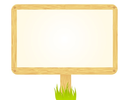 wood sign: Wooden sign isolated on white. Illustration