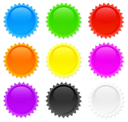 Glossy seals collection. 9 colors. Vector