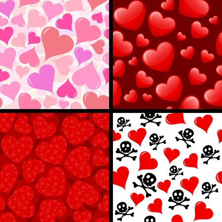 skull with crossbones: Four different seamless hearts patterns. Illustration