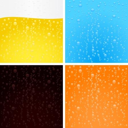 frisdrank: Drankjes achtergronden collectie. Bier, water, cola en sinas. Stock Illustratie