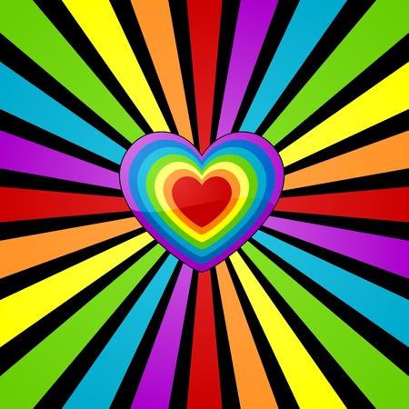 El fondo del corazón con el arco iris rayo de sol.