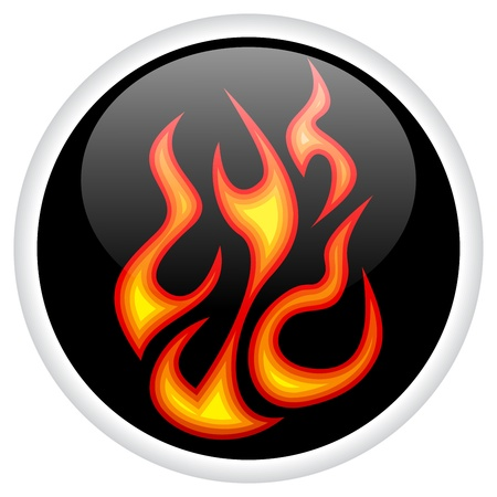 On Fire burning shiny button. Stock Vector - 10860858