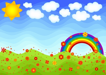 Spring scene with rainbow and flowers. Illustration