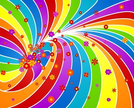 Spring background with rainbow and flowers.