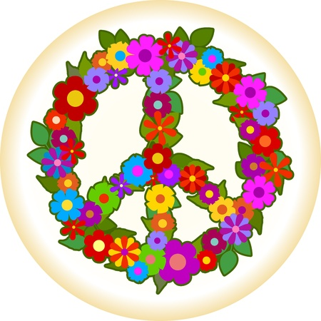 60s hippie: Peace sign made of flowers.