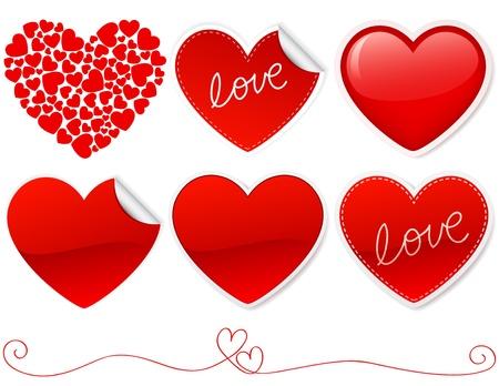 shiny heart: Valentines heart shaped icon set.