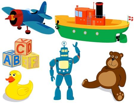Seis juguetes conjunto. Avión, barco, cubos, el pato, el robot y el oso.