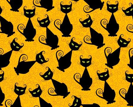 Black cat seamless pattern for halloween. Vector