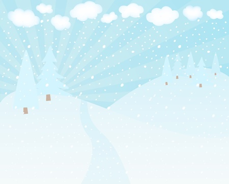snowscape: Winter landscape whith mountains and trees. Illustration