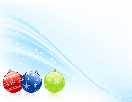 Three christmas baubles on snowy background. Vector
