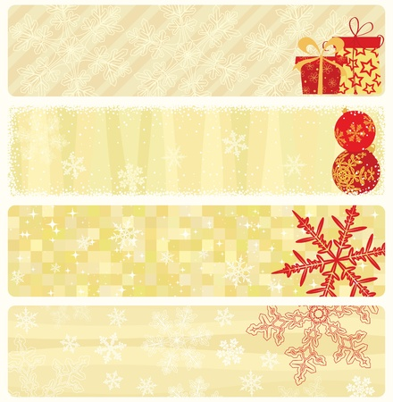 year january: Four christmas beige banners collection. Illustration