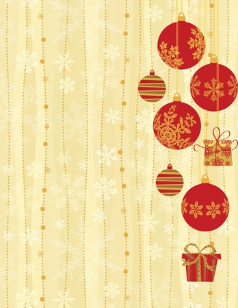 Christmas Background with hanging baubles. Illustration