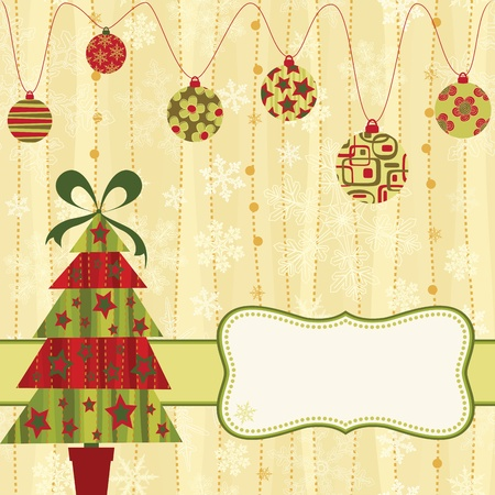 Christmas retro card with tree and baubles. Illustration