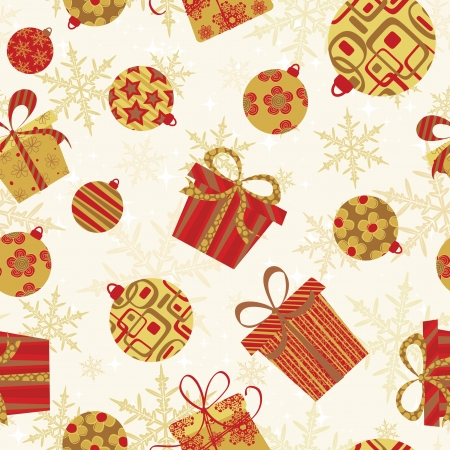 Seamless Christmas Pattern with baubles and presents. Vector