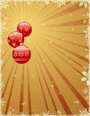 Christmas background with shiny baubles. Vector