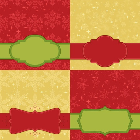 Christmas card set. Backgrounds are seamless patterns. Vector