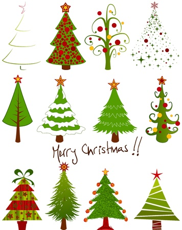 christmas tree set: Twelve isolated christmas tree set. Illustration