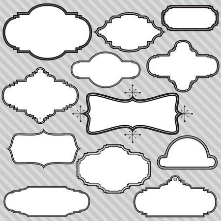 marco blanco y negro: un conjunto de doce cuadros retro en blanco y negro