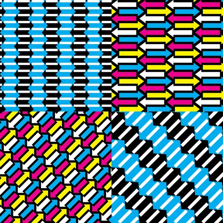 Seamless Patterns Arrows CMYK set. Vector