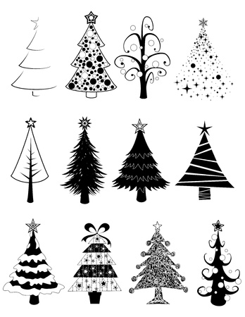 Twelve black and white isolated christmas tree set.