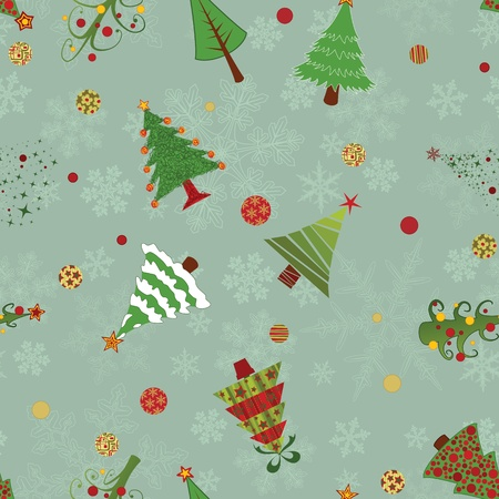 A seamless vector pattern with ten different christmas trees, snowflakes and decoration Illustration