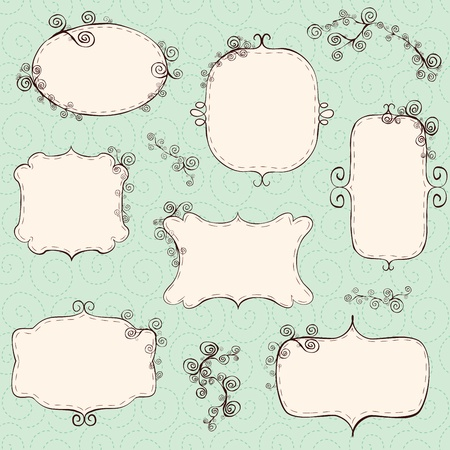 Hand drawn frames (background is a seamless pattern). Stock Vector - 11200153