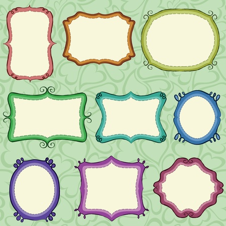 cute text box: Hand drawn frames (background is a seamless pattern).
