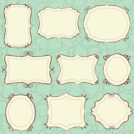 Hand drawn frames (background is a seamless pattern).  Vector