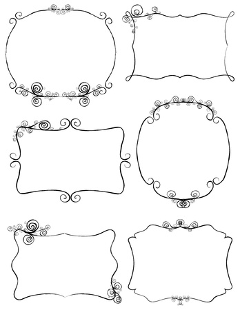 hand drawn frame: Hand drawn retro frames with ornaments Illustration