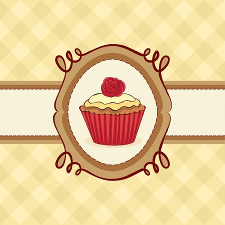 Cupcake card with rose on seamless pattern. Vector