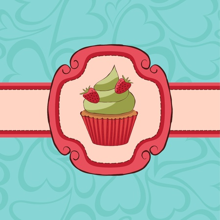 Cupcake card with strawberries on seamless pattern. Vector