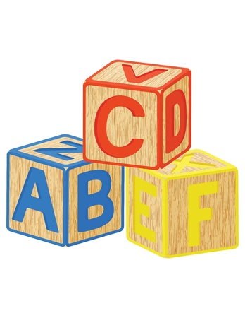 wooden toy cubes with letters Vector