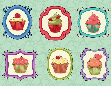 cupcake illustration: Yummy Cupcakes on sketchy frames.
