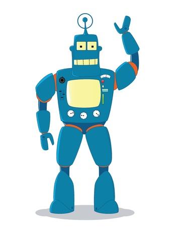 retro friendly blue robot toy Stock Vector - 11299264