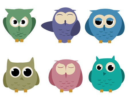 wise owl: set of six cartoon owls with different expressions Illustration