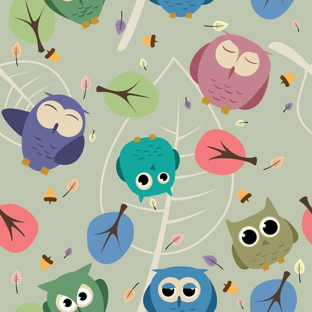 seamless pattern with vector owls and decoration