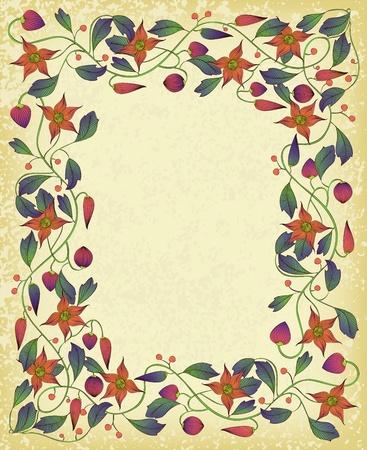 ビンテージのアール ヌーボー様式の花のフレーム。