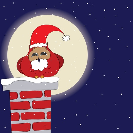 Funny owl dressed like Santa on a chimney Vector